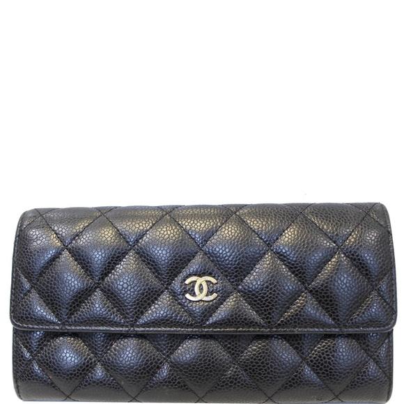 CHANEL Handbags - CHANEL GUSSET FLAP CAVIAR WALLET BLACK